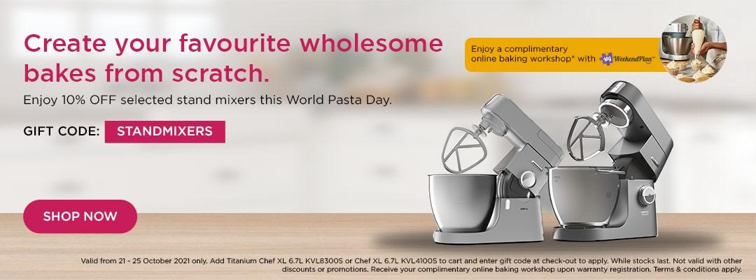 Kenwood World Pasta Day Special - Enjoy 10% off Titanium Chef XL 6.7L KVL8300S or Chef XL 6.7L KVL4100S