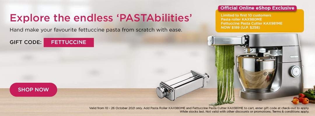 Kenwood World Pasta Day Special - Pasta Roller KAX980ME & Fettuccine Pasta Cutter KAX981ME set at $189