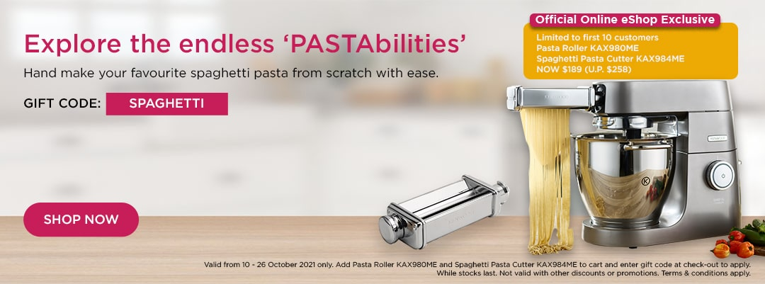 Kenwood World Pasta Day Special - Pasta Roller KAX980ME & Spaghetti Pasta Cutter KAX984ME set at $189. Limited to first 10 sets.